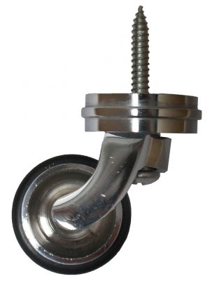 Chrome Screw Castor with Rubber Tyre and Round Embellisher