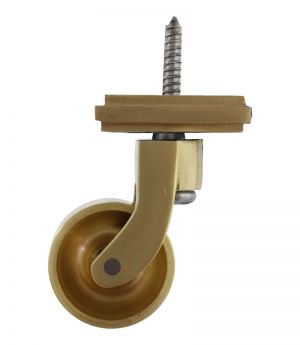 Satin Brass Screw Castor with Square Embellisher 32mm
