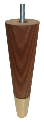 Andrea Solid Walnut Tapered Furniture Legs With Brass Slipper Cup